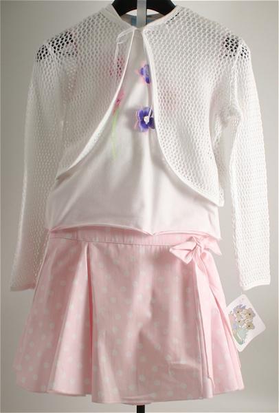 Immagine di Completo 3 pezzi da ragazza bianco/rosa
