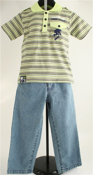 Immagine di Completo Jeans e Polo Rigata