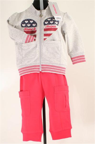 Immagine di Tuta jogging bimba grigio e rosa geranio