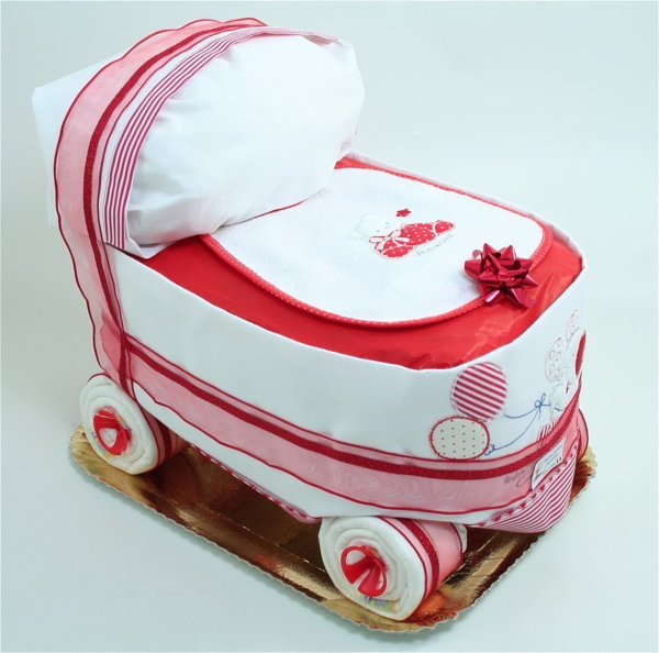 Immagine di Torta di Pannolini Carrozzina ROSSA