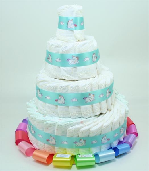 Immagine di Torta di Pannolini 4 Piani Multicolor