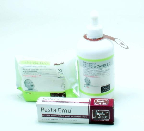 Immagine di Detergente Corpo e Capelli Talco + Pasta Emu + Salviettine